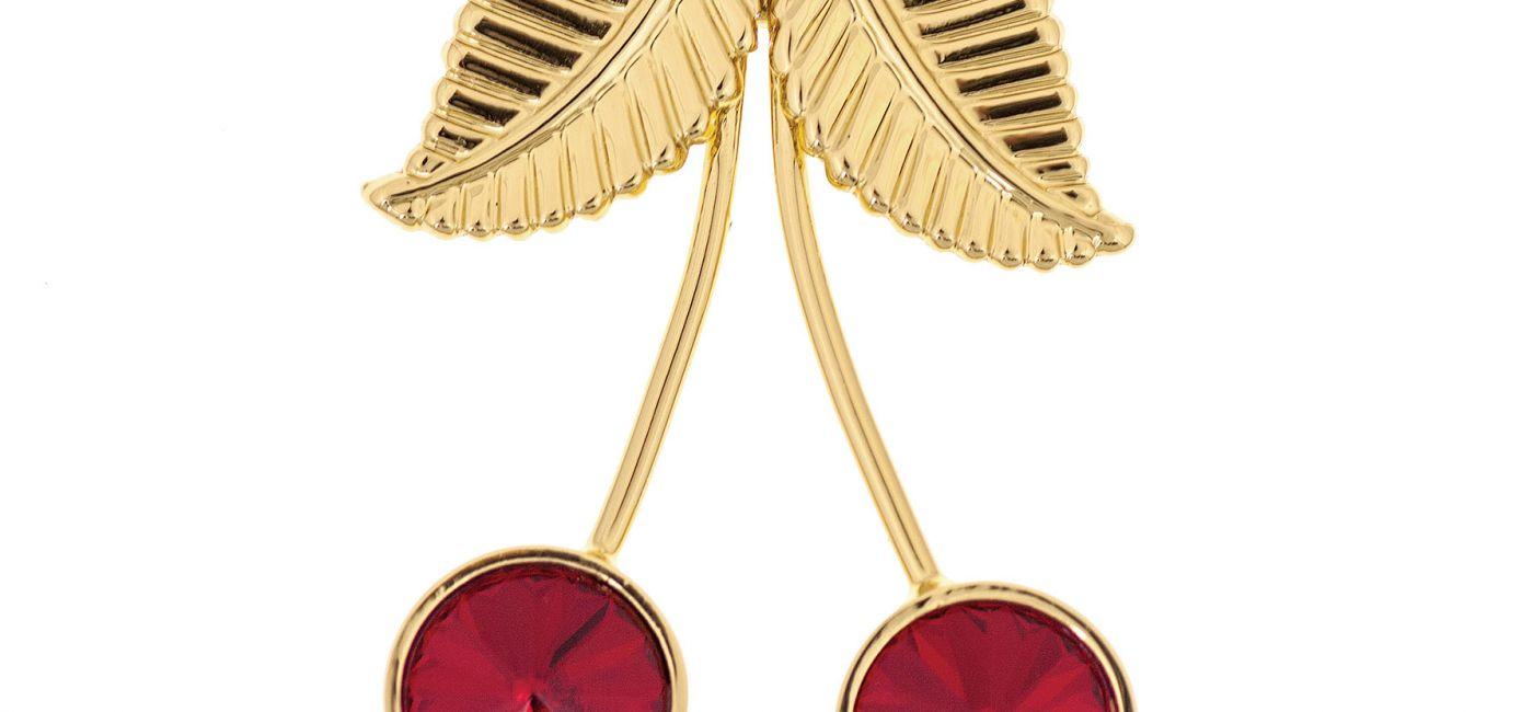 Wisienki, pin z pozłacanego mosiądzu, ozdobiony kryształami Swarovskiego, 10 Decoart