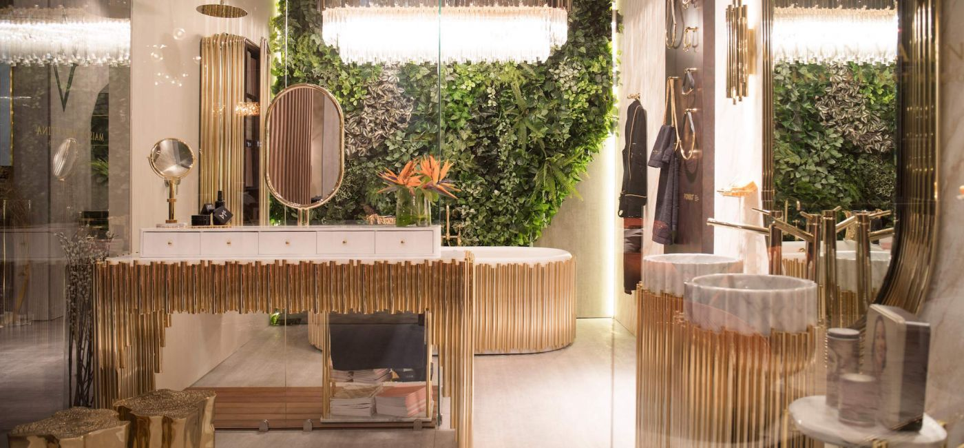 Sophisticated and nature inspired bathroom design featuring Symphony Dressing Table in gold_ iSaloni 2019.jpg