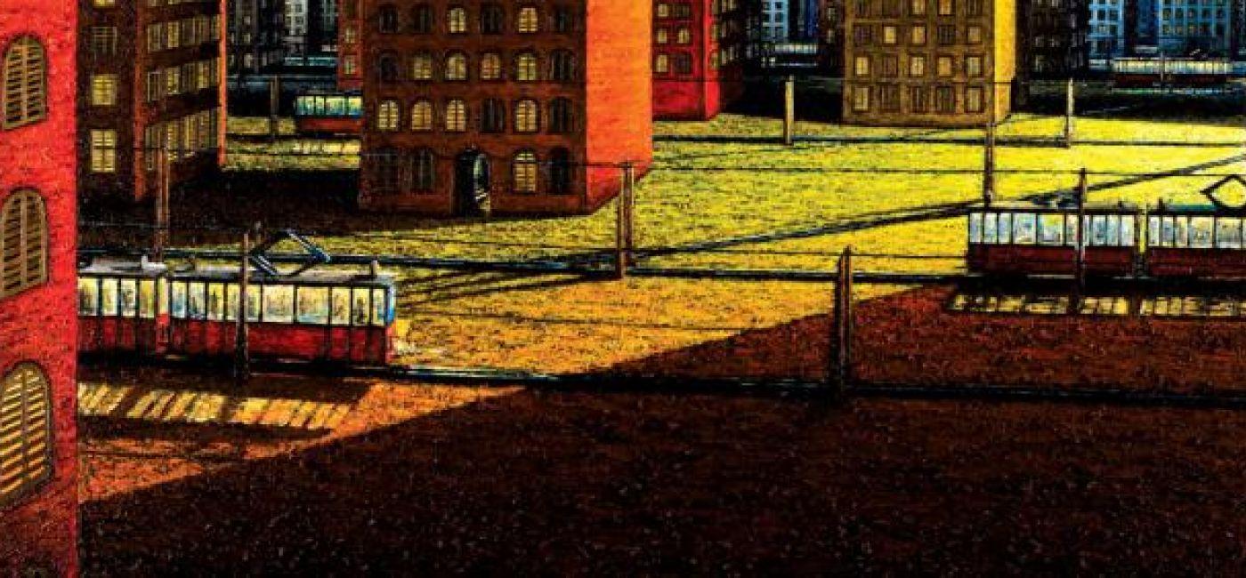 Adam Patrzyk Pejzaż miejski z dwoma tramwajami