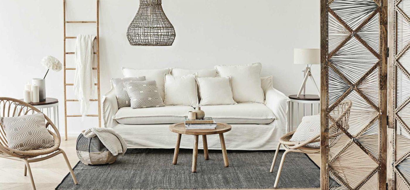 beżowa sofa do salonu