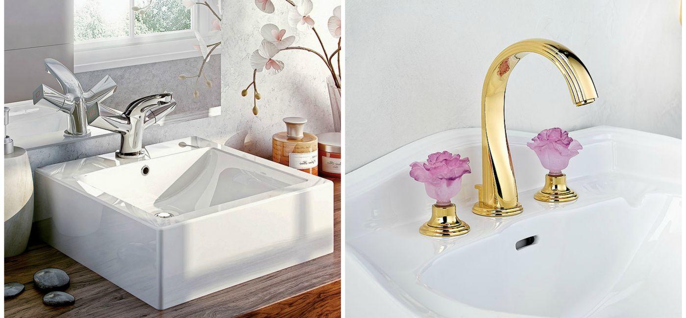 Bateria Konwalia i kwadratowa umywalka Anemon, DEANTE Gałki-róże, THG