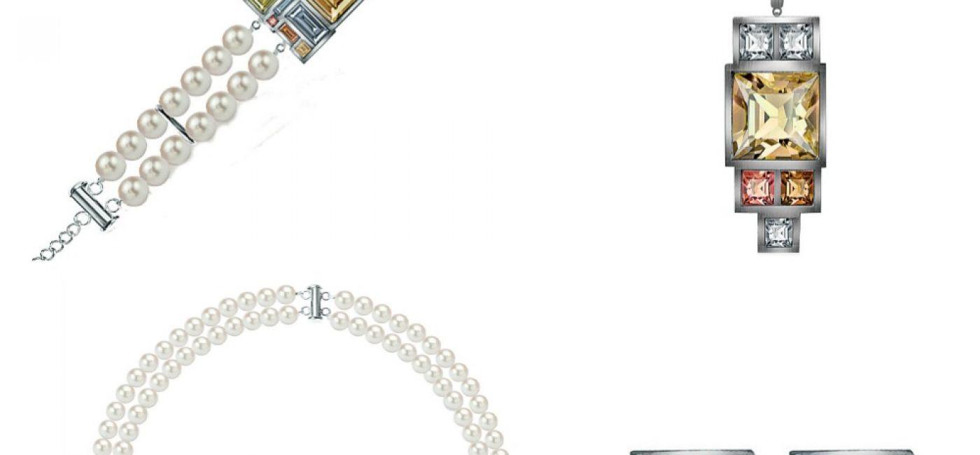 Kolekcja Empire - zestawienie pereł słodkowodnych i kryształów Swarovskiego w ciepłych odcieniach beżu i brązu.
