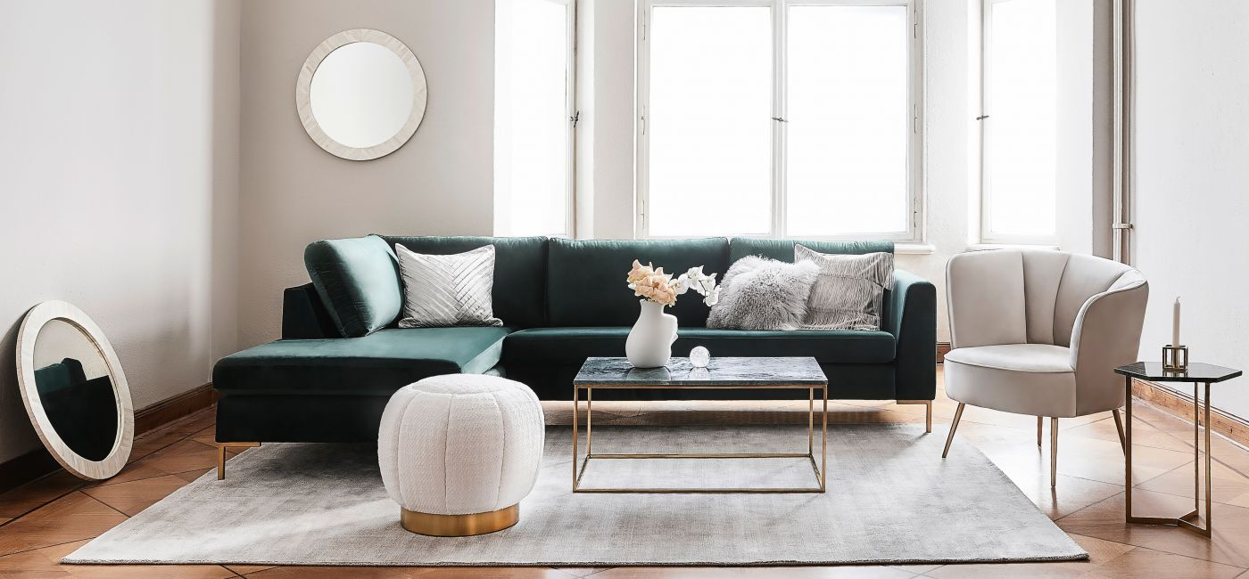 Aranżacja salonu z zieloną sofą, WESTWING, WESTWINGNOW.PL