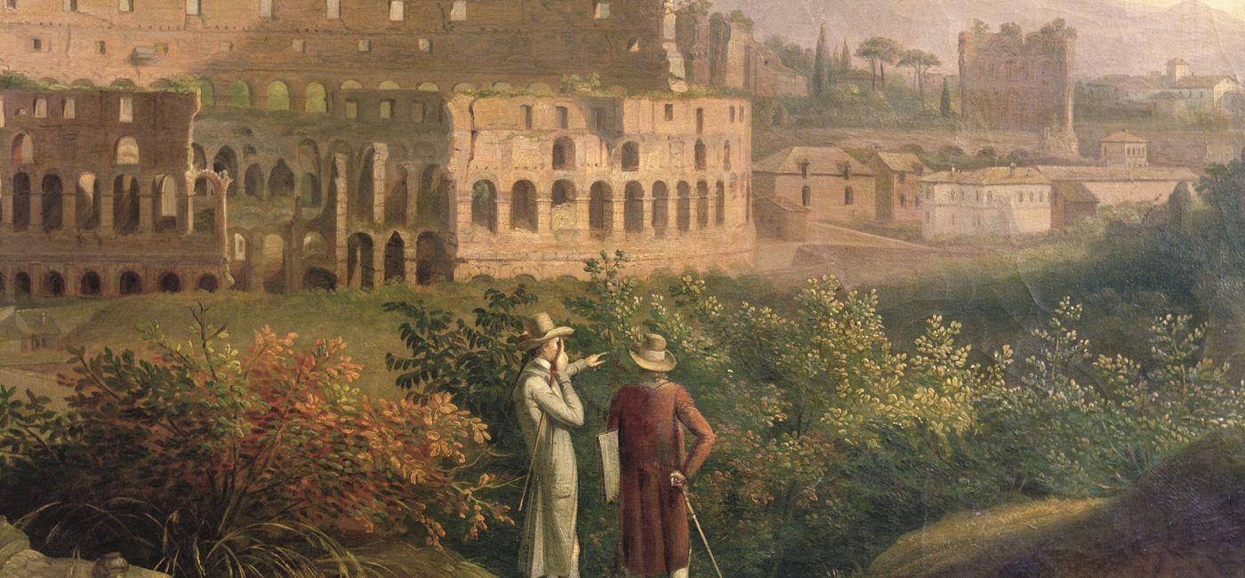 Jacob Philipp Hackert Johann Wolfgang von Goethe zwiedza Koloseum , ok. 1790 r.