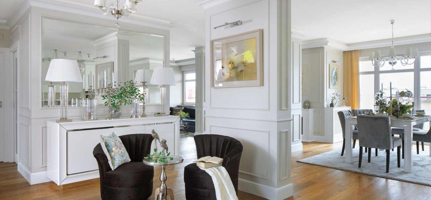 salon styl klasyczny z nowoczesnym