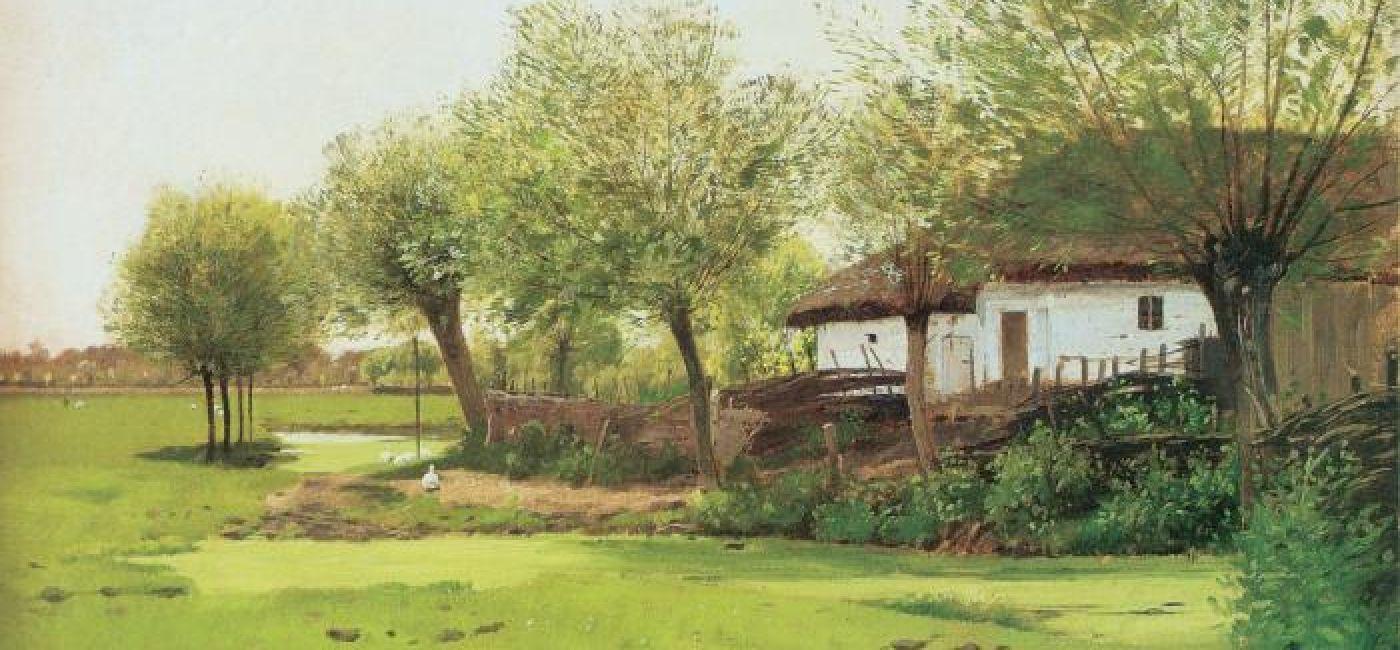 Roman Kochanowski, Zielony pejzaż z chałupą 1886 r., własność prywatna.
