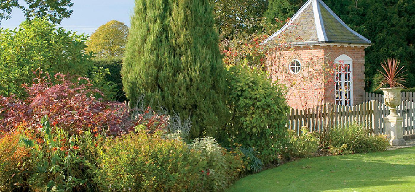 W ogrodzie rosną głównie krzewy: pięknie pachnące azalie, bujne rododendrony i ozdobne przez cały rok mahonie.
