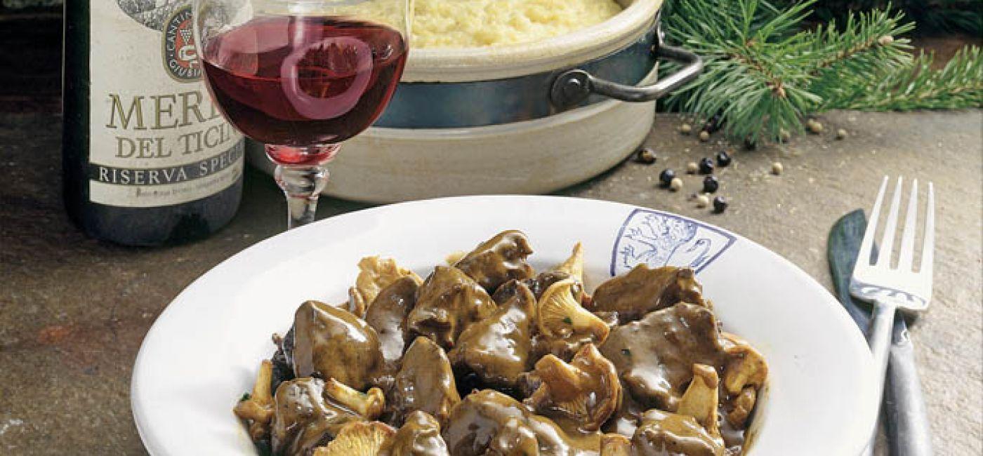 Wieprzowe ragoût w piwie z grzybami