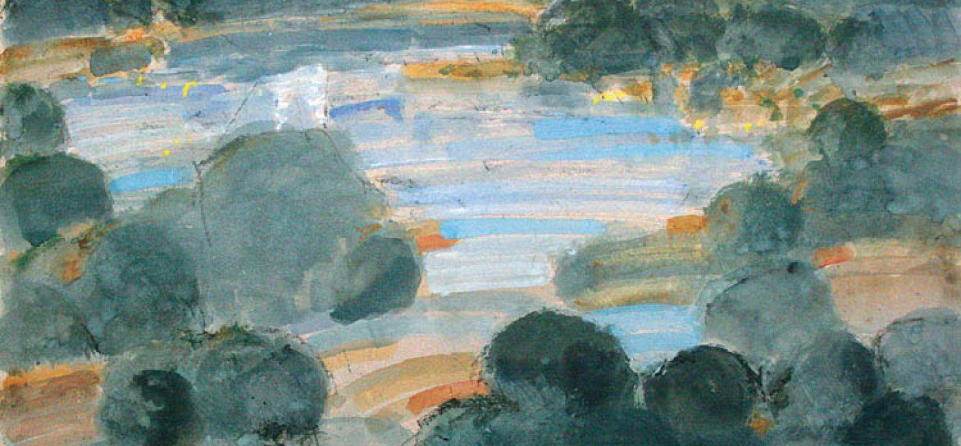 Wigry , gwasz, tektura, 2010. Ballada o koniu