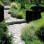 Kręta wapienna ścieżka i rozsiane po trawie wokół kępki ozdobnych roślin sprawiają, że przechodząc tędy