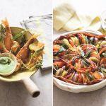 Smażone małe rybki z kwiatami cukinii i bazyliowy aioli oraz warzywny tian