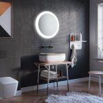 szara łazienka oświetlenie