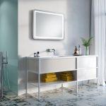 biała łazienka z pistacjową ścianą