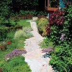 Nierówna, wyłożona kamieniem alejka, drewniane płotki i kępki roślin rozsiane, jakby same tak wyrosły - ot, wiejski ogródek.