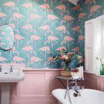 tapeta we flamingi w łazience