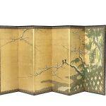 Parawan z pejzażem zimowym, pracownia Unkoku Togan, połowa XVII w., Japonia
