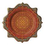 Patera ozdobiona wzorem z perskich dywanów, pomalowana 14-karatowym złotem.