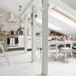 biała kuchnia na poddaszu