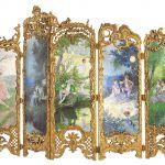 Rokokowy, XIX w., Francja. Ładnie zasłonięte: elegancki parawan pokojowy