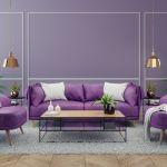 Salon w nowoczesnym stylu fioletowy
