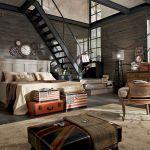 Stalowe elementy, ale też naturalne kolory, drewno, organiczne tkaniny.