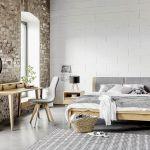 szaro biała sypialnia kamień