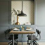 szare ściany w kuchni w stylu vintage