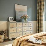 szare ściany w sypialni w stylu vintage