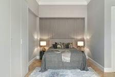 szara sypialnia w stylu modernistycznym