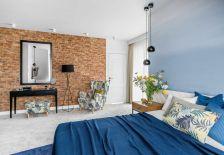 aranżacja sypialni nowoczesna cegła na ścianie