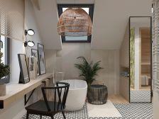 łazienka na poddaszu z wanną i prysznicem