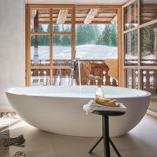 wnętrza w stylu chalet łazienka