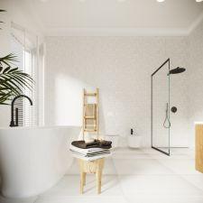 biała łazienka z drewnem