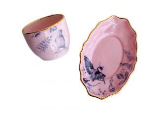 Talerzyk deserowy i czarka Leniwy podwieczorek różowy