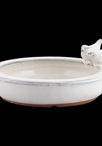 Poidełko basen dla ptaków - ceramiczne kremowe
