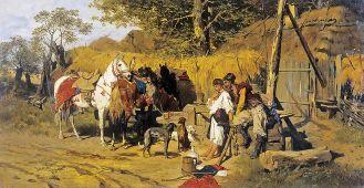 Józef Brandt Zaloty. Kozak z dziewczyną przy studni , 1875 r.