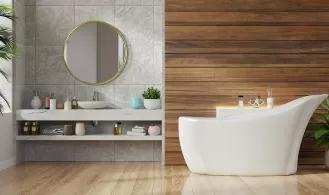 przegląd materiałów na modne wykończenie ścian i podłogi w łazience