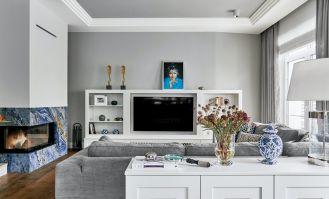 ściana telewizyjna w salonie
