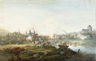 Aleksander Orłowski Bitwa wojska kościuszkowskiego z rosyjskim o przeprawę na rzece , 1801 r., Muzeum Narodowe w Warszawie