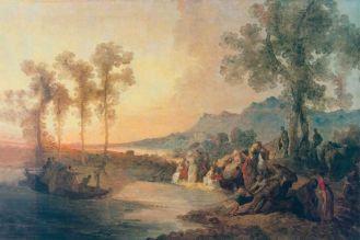Jan Piotr Norblin Towarzystwo na wycieczce nad jeziorem , ok. 1785 r., Muzeum Narodowe w Warszawie
