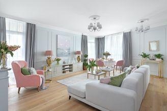 szary i różowy w salonie