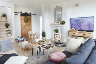 kobiecy salon w stylu rustykalnym