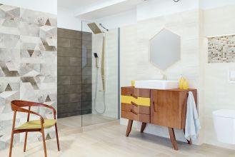 szara łazienka z prysznicem