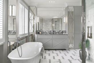 szara łazienka w stylu modernistycznym