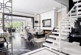 czarno-biały salon w stylu modern classic
