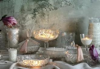 świece w kryształach