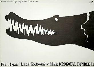 Plakat Mieczysława Wasilewskiego do filmu Krokodyl Dundee II , 1988 r. (Po 2001 roku zyskał nowy wymiar dzięki wieżom World