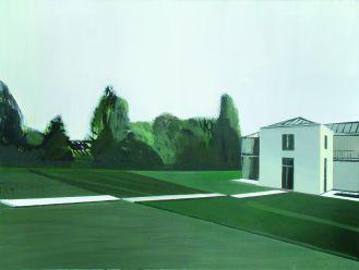 Dom Richtera (zielony) , 2014 rok. Portrety domowe – malarstwo Marii Kiesner