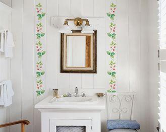 Wzór z gałązkami głogu w łazience. Gałązka głogu - szablon do malowania