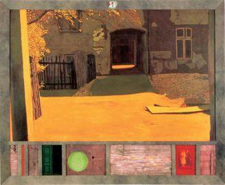 Jacek Rykała Światła Środuli , dykta, 1998 r., własność prywatna.